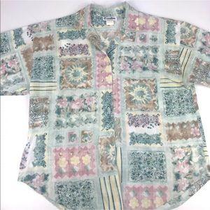 Vintage Caribou Button Down Short Sleeve Blouse